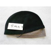 Italmaglia berretto nero a calotta con bordo beige