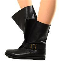 KikkiLine stivali biker boots per polpacci grossi in pelle nera fondo gomma