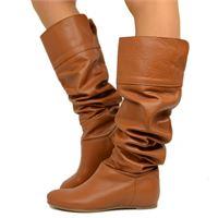 KikkiLine cuissardes stivali al ginocchio con risvolto in pelle cuoio
