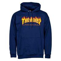THRASHER felpa blu con cappuccio flame logo