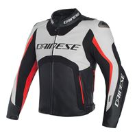 Dainese giacca moto pelle Dainese misano d-air bianco nero rosso fluo
