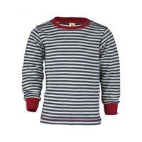 Engel maglietta a manica lunga in lana merino -col. Blu/ ecrù