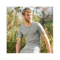 Engel maglietta uomo a manica corta in lana seta -col. Grigio