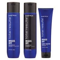 Matrix total results kit brass off shampoo + conditioner + blonde threesome