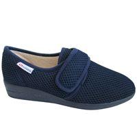 Pantofola superga in tessuto blu con strappo.