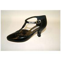 Scarpa romagnoli confort elegante nera con cinturino.