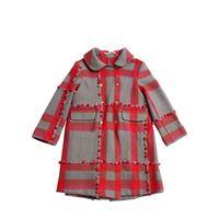PÉRO cappotto in lana check con pompom