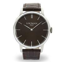 Locman 1960 / orologio uomo / quadrante marrone / cassa acciaio / cinturino pelle marrone