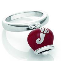 Chantecler / et voilà / anello campanella double face / argento e smalto rosso perlato, con cornetti sul retro