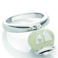 Chantecler / et voilà / anello campanella double face / argento e smalto bianco perlato, con faraglioni sul retro
