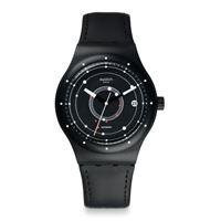 Swatch / sistem 51 / sistem black / orologio unisex / quadrante nero / cassa plastica / cinturino cuoio