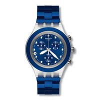 Swatch / irony diaphane / full-blooded navy / orologio unisex / quadrante blu / cassa plastica / bracciale alluminio