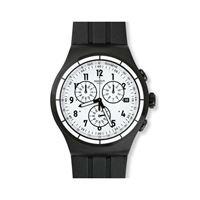 Swatch / irony chrono / chrono again / orologio unisex / quadrante bianco / cassa acciaio / cinturino gomma