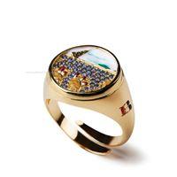 Isola bella anelli lapilli 20000688 anello tondo fichi vela zirconato dorato gioiello unisex anello argento