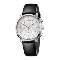 Calvin Klein posh / orologio uomo / quadrante argentato / cassa acciaio / cinturino pelle nera