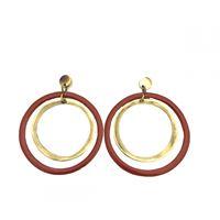 Orecchini doppio cerchio degradè majo in bronzo lucido e smalto rosso mattone