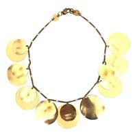 Collana majo con pastiglie in bronzo lucido e smalto colore giallo crema
