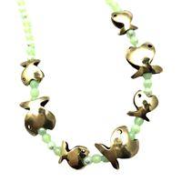 Collana majo girocollo con cristalli verde acqua e pesci in bronzo lucido