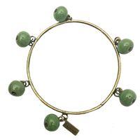 Bracciale rigido tolemaide ottone brunito con ciondoli-biglie in ceramica colore verde basilico