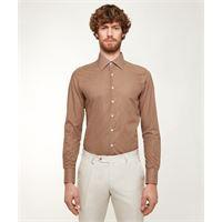 Lanieri camicia da uomo su misura, canclini, optical marrone, quattro stagioni