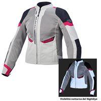 Macna giacca moto donna touring estiva Macna event ladies grigio chiaro night eye nero rosa