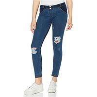 FREDDY pantalone wr. Up® skinny vita e lunghezza regular in jersey effetto denim - jeans scuro-cuciture gialle - large