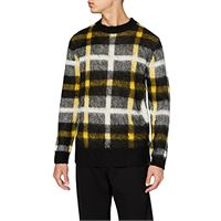 find. find contrast check knitted, felpa uomo, giallo (yellow / black ivory), x-small