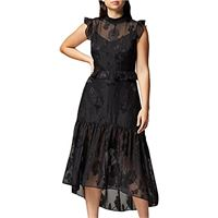 TRUTH & FABLE floral organza sleeveless maxi gonna, nero (black), xx-large