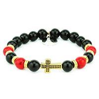 Bracciale croce color oro onice nero e turchese rosso | damian