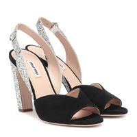 Miu Miu sandali in suede e glitter
