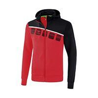 Erima 1031902 giacca, unisex bambini, rosso/nero/bianco, 164