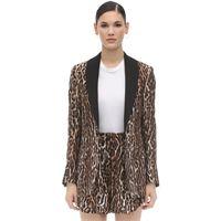 R13 blazer in seta e viscosa leopard