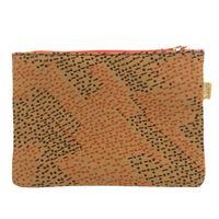 Bustina mille usi sud in tela di cotone nocciola con fantasia optical arancio e marrone