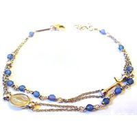 Bracciale rosario unoaerre in argento con agata azzurra