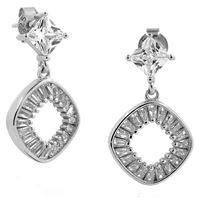 Gioielleria Bucci orecchini pendenti in argento rodiato oro bianco 18 kt con zirconi