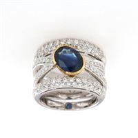 Crivelli anello fascione diamanti e zaffiri crivelli