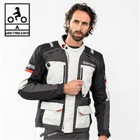 BEFAST giacca moto touring befast victory ce certificata 3 strati nero grigio chiaro