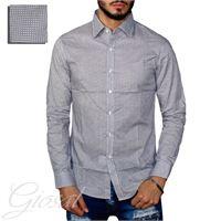 Altri Designer camicia uomo casual bottoni slim cotone fantasia pois blu bordeaux