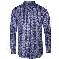 Altri Designer camicia uomo bottoni colletto fantasia blu floreale manica lunga slim