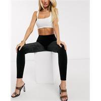 Spanx - leggings a vita alta modellanti in velluto-nero