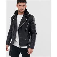 River Island - giacca biker in pelle sintetica nera con cappuccio-nero