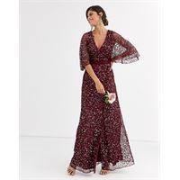 Maya bridesmaid - vestito lungo a portafoglio color vino con delicate paillettes-rosso
