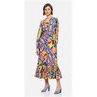 Stella Jean abito lungo in seta multicolor