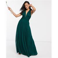 ASOS DESIGN - vestito lungo drappeggiato da damigella con corpino arricciato e dettaglio a portafoglio-verde