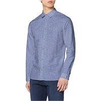 Tommy Jeans tjm linen blend shirt camicia, bianco (white ybr), large uomo
