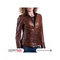 Leather Trend Italy violetta bis - giacca donna in vera pelle colore cuoio oil vintage