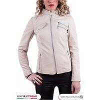 Leather Trend Italy michelina - giacca donna in vera pelle colore beige morbida