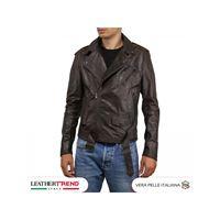 Leather Trend Italy chiodo uomo - giacca in vera pelle colore testa di moro oil vintage