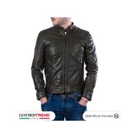 Leather Trend Italy u06 - giacca uomo in vera pelle colore verde oil vintage