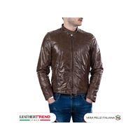 Leather Trend Italy u09 - giacca uomo in vera pelle colore marrone morbida